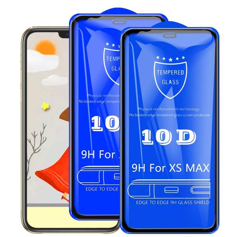 10D الزجاج المقسى حامي الشاشة مقاومة كامل الغراء تغطية غطاء منحني فيلم الحرس لفون 13 برو ماكس 12 ميني 11 XS XR X 8 7 6 6S زائد SE