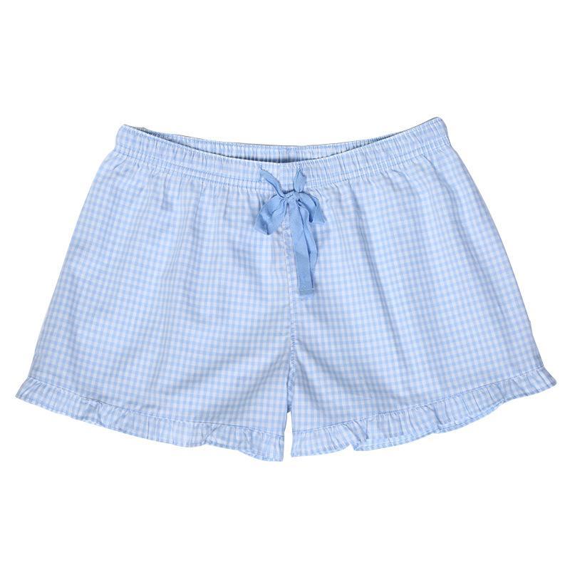 Seersucker Shorts, Ruflle 라운지 바지, 핑크 블루 여성 수면 반바지 선물