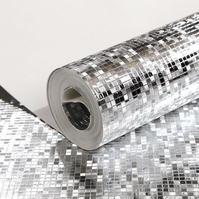 Wallpapers Luxury Glitter Mosaic Wallpaper KTV Bar Decorative Wall Paper Square Grid Silver Gold Foil Ceiling Wallcovering