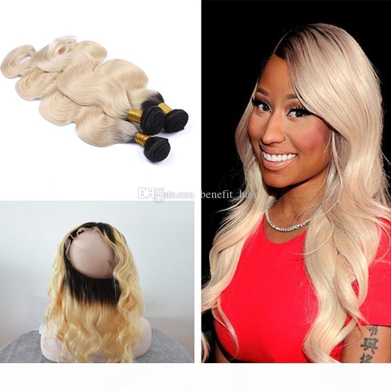 OMBRE Цвет 1b 613 Волосы волос Волна Палансики волос с Precucked 360 Полный Кружевной полосы Frontal С Детские Волосы