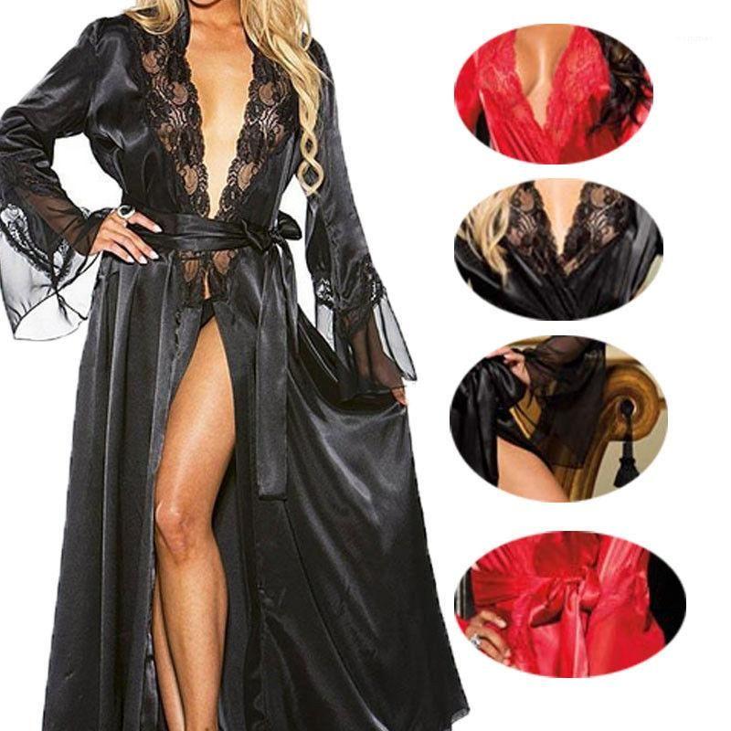 Delle donne Plus Size Sleepwear V Neck Solid Color Lace Sexy Sleepshirts da donna NightGowns Underwear 2021 Nuovi arrivi