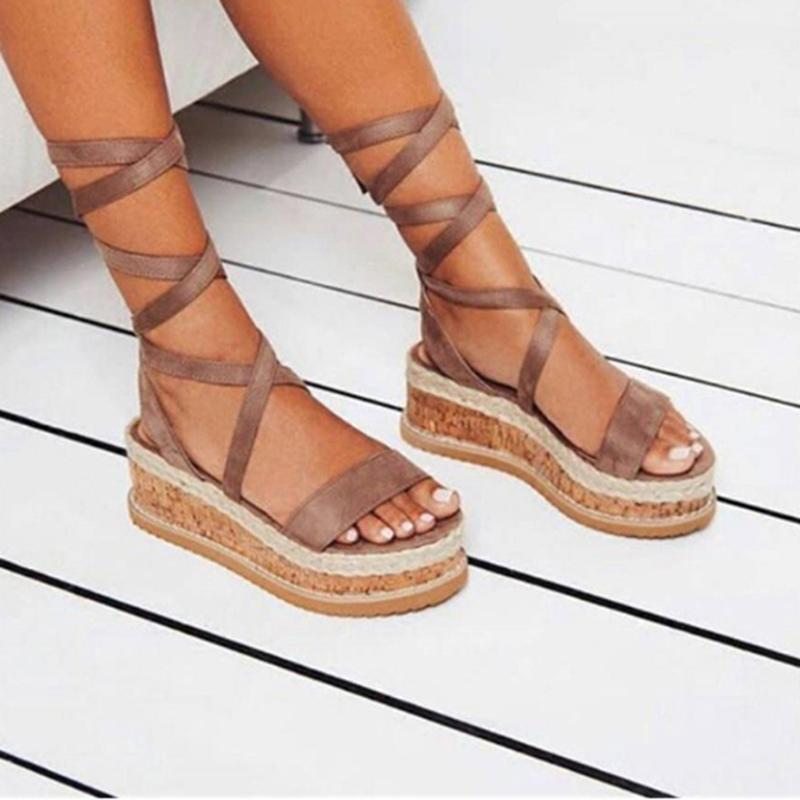Verão Branco Wedge Espadrilles Mulheres Sandálias Open Tee Gladiador Sandálias Mulheres Casual Lace Up Plataforma Sapatos de Verão