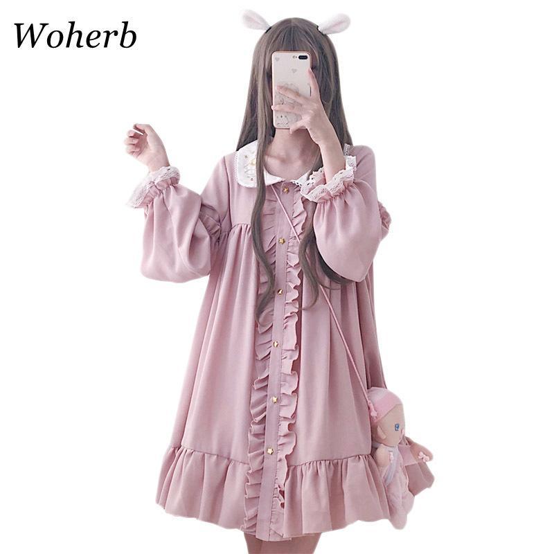 Woherb 2021 Летнее платье Женщины Harajuku Розовые Дамы рюшачьего кружева Patch Kawaii Платья Лолита Косплей Сладкие Свободные Vestidos 21092 210224