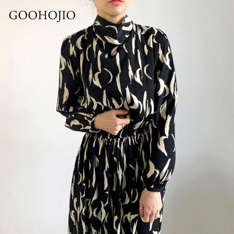 GOOHOJIO 2021 Nouveau automne et hiver manches longues femmes robe tempérament tempérament robe haute taille pour femmes à la mode Femmes Chic Robe J0301