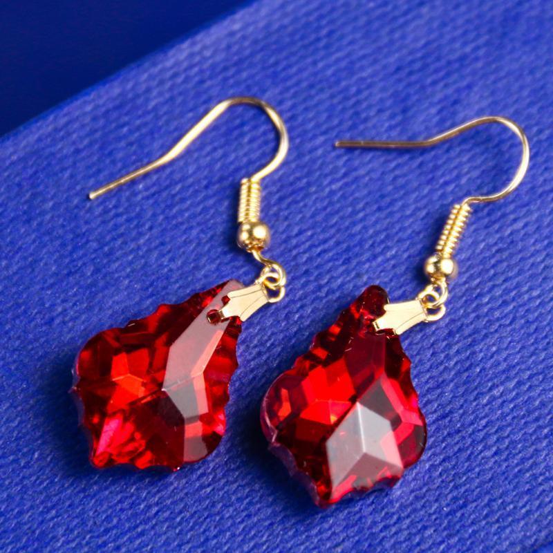 Люстра проще говоря, простые сбросивые серьги нерегулярные кристалл красный цвет подвесной золотой ушной крючок для женщин модный свадебный ювелирные изделия GIF