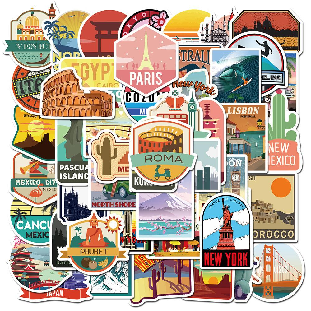 50PCS/Lot New Global Travel City Landscape Stickers Decal Vinyl for Stationery Scrapbooking Skateboard Laptop Guitar Home Luggage Sticker