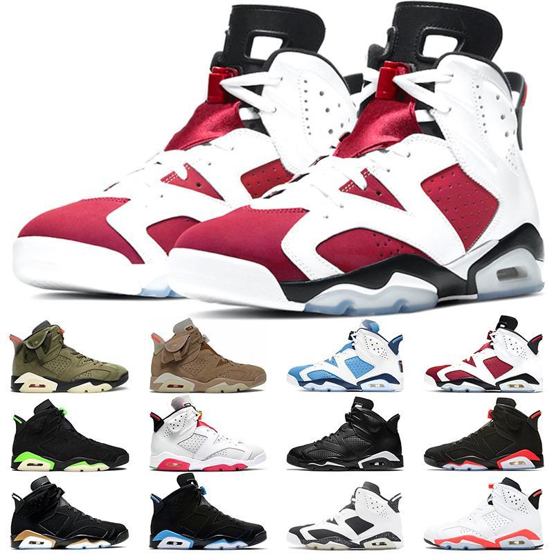 2021 jumpman 6 أحذية كرة السلة الرجال النساء 6S unc الكهربائية الأخضر البريطانية الكاكي متوسطة الزيتون كرمين هير الثلاثي الأسود الأشعة تحت الحمراء الرياضية رياضية الحجم 36-47