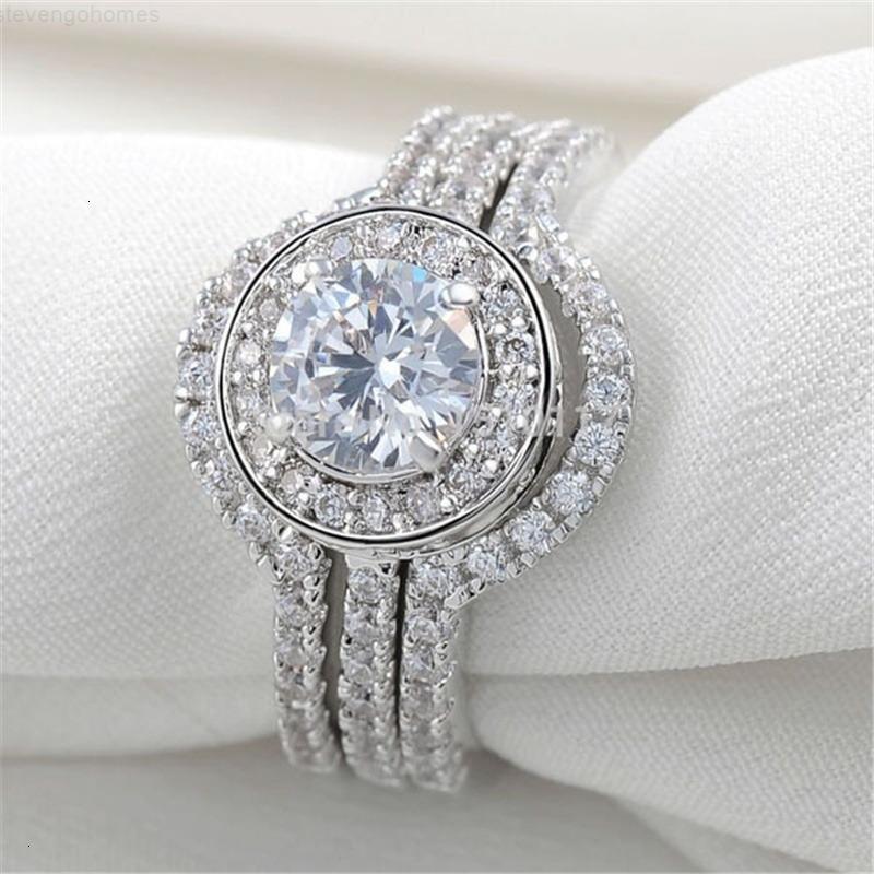 Crystal Sapphire 3-in-1 белые кольца серебристый натуральный Zircon Diamond Wedding обручальное кольцо размером 5-12