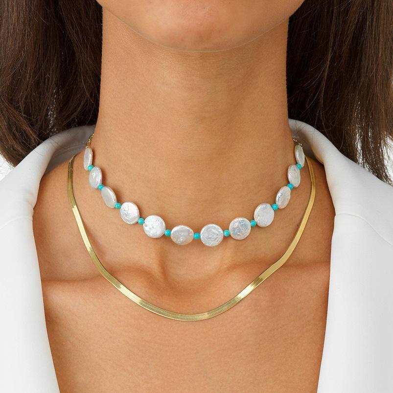 202-Девые модные аксессуары Богемия ювелирные изделия 925 серебряные позолоченные позолоченные цепные колье Choker ожерелье женщины