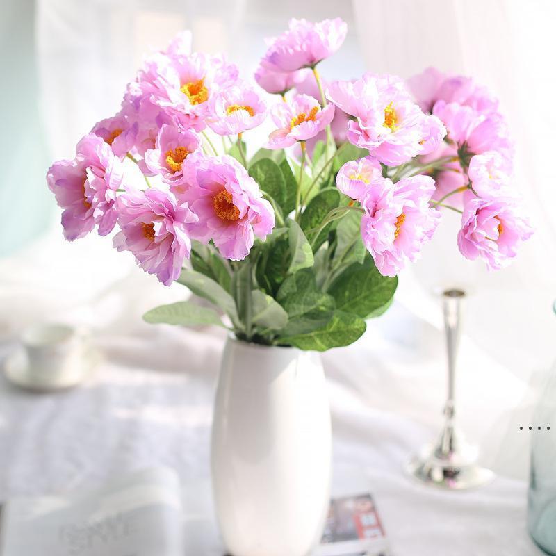 10 stücke Künstliche Mohn Silk Blume Stoff Blumenstrauß Girlande Haar Hause Hochzeit Dekoration Geschenk Orange dunkelrot owd5379