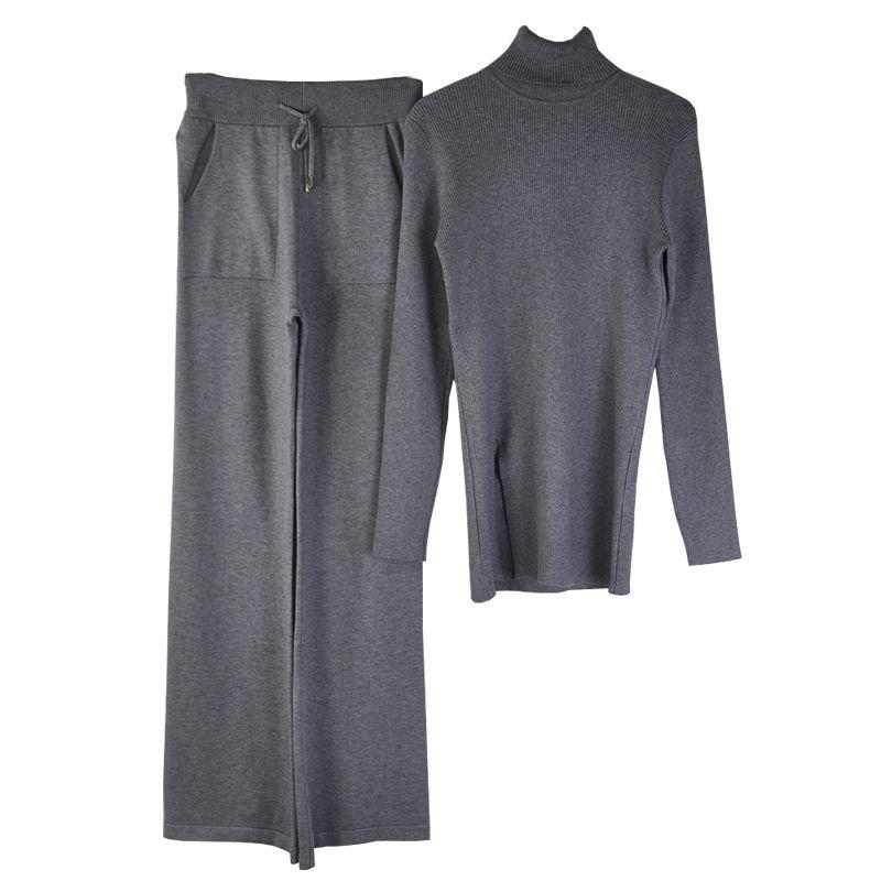 Kış Taovk Sonbahar Kadın Örgü Takım Elbise Balıkçı Yaka Kazak Kazak Elastik Bel Pantolon İki Parçalı Set 5ceo