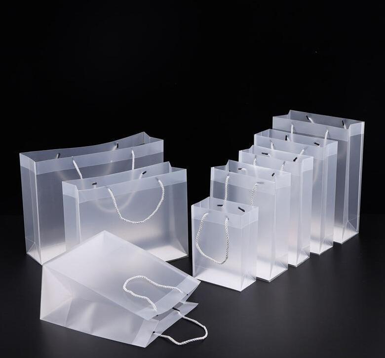 8 Размер глазурие ПВХ пластиковые подарочные пакеты с ручками Водонепрозрачный прозрачный PVC мешок очистить сумочку вечеринка благополучие сумки пользовательских логотипа # 170
