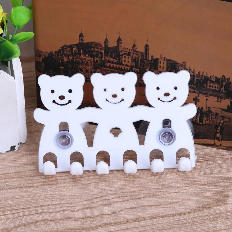 Soporte de cepillo de dientes Montado en la pared Ventosa 5 posiciones Juegos de baño de oso de dibujos animados lindo Y0220