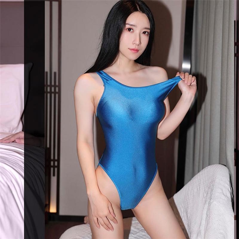 2019 traje sexy traje de baño japonés sukumizu estilo lencería traje de lencería para las mujeres calientes erótica brillante club ropa club 210305