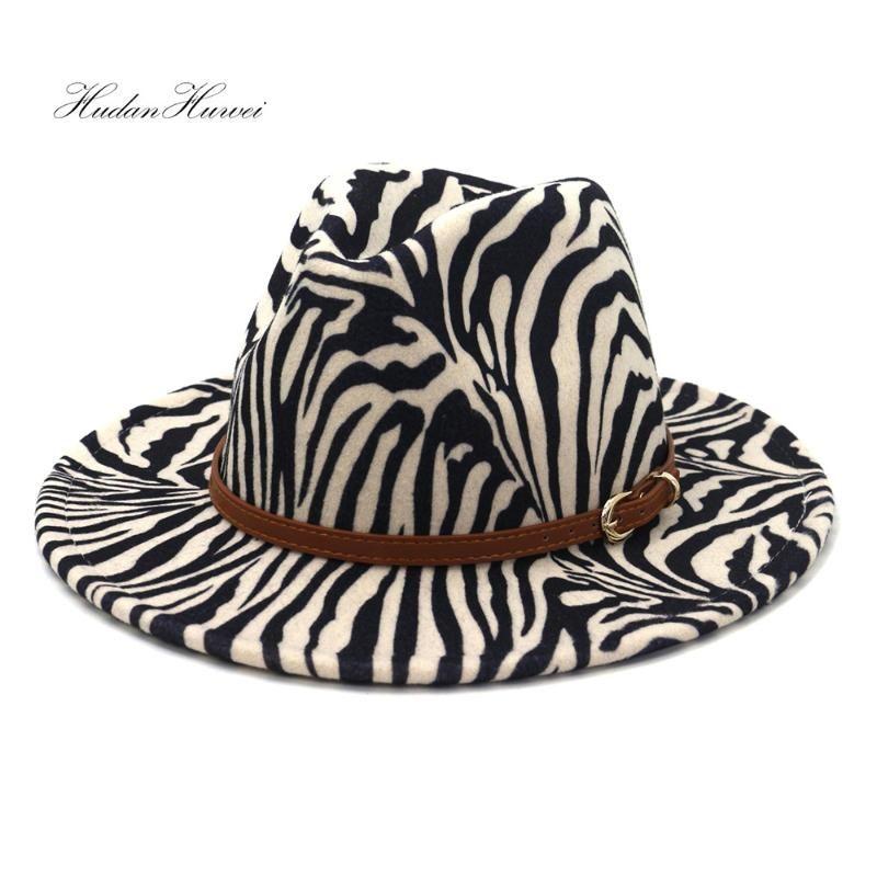 New Fashion Men Ladies Gentlemen Felt Fedora Hat Fall Winter Party Zebra Women Men Jazz Panama Hat