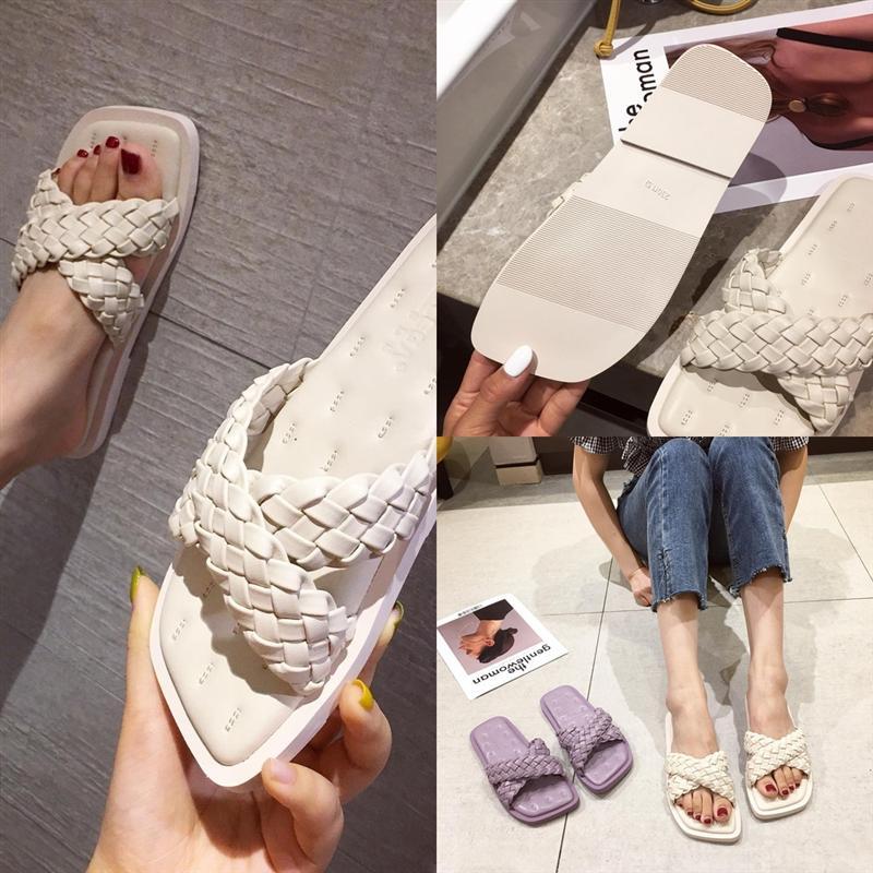 HBTXK Новый атласный лук узел Wild Home Open-Toe женская простая корейская версия четыре роскоши дизайнерских сезонов тапочки нескользящих сандалии