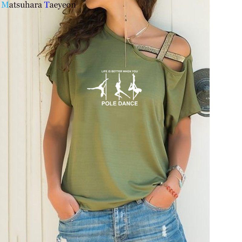 Moda Pole Dança Imprimir Top Algodão Mulheres T-shirt Casual Manga Curta Teeshirt Femme Mulheres Roupas 2020 T-shirt engraçado