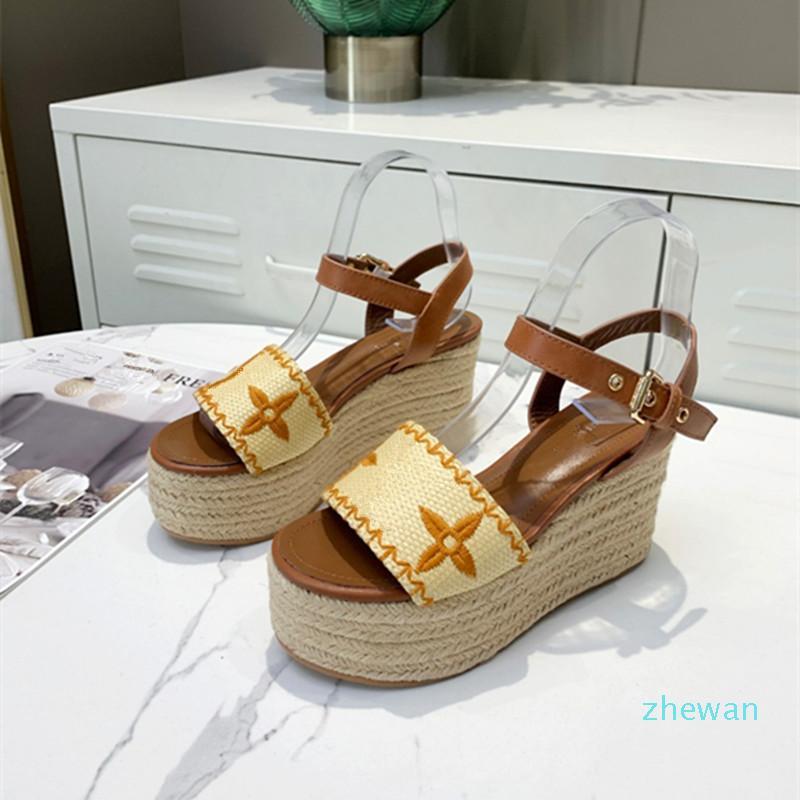 designer 2021 fashion women's Woven sandals slope heel luxury elegant