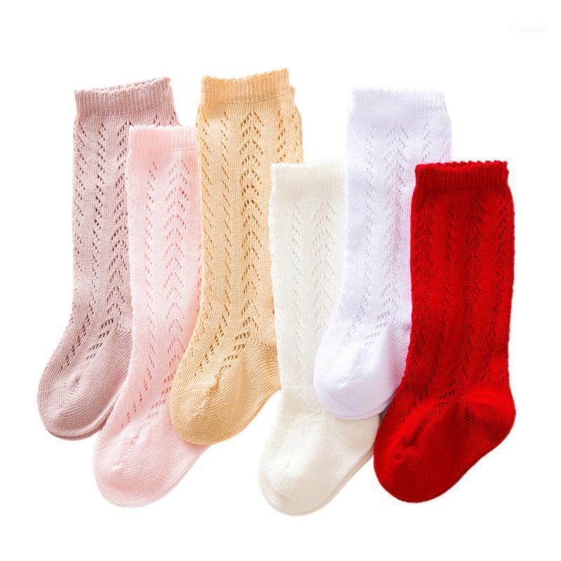 Niños Baby Girls Moda Calcetines ahuecados hacia fuera Calcetines Altos Color Cómodo Color Sólido Para Niños Niños Bebé1