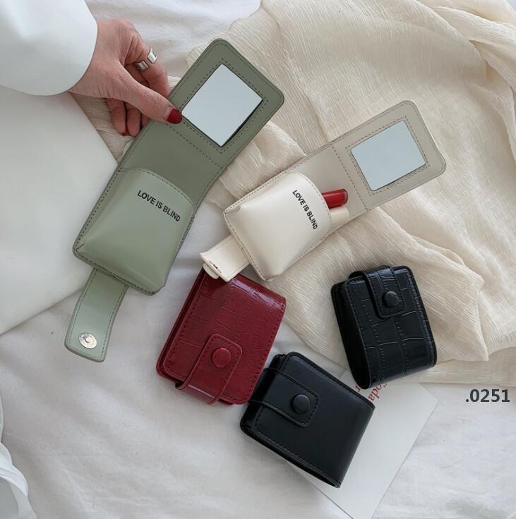 Lippenstift Aufbewahrungstasche Tragbare Make-up-Tasche Rouge Taschen mit Spiegel Multifunktionale Taschen Mini Kapazität Hochwertige Kosmetik Aufbewahrungstasche FWC6068