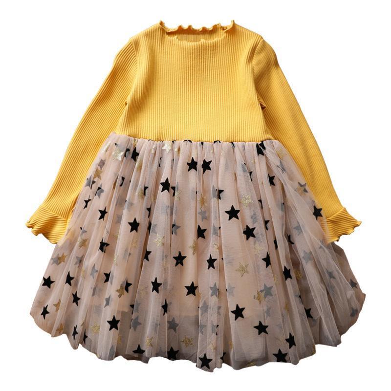 Würgege Kleid Herbst Winter Neue Art Koreanisch-Stil Mädchen langärmliges Kleid Großes Jungen Mädchen Gaze Princess