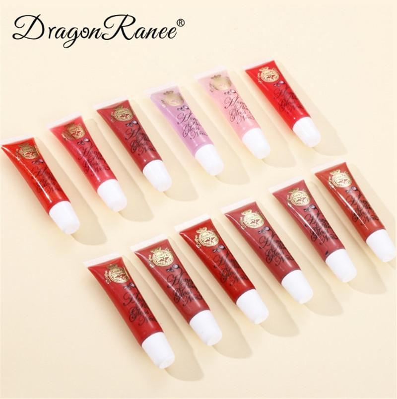 Dragon Ranee 12 ألوان حقيقية شفاه لمعان تأثير كبير الفم بلسم السائل أحمر الشفاه مرطب دائم جيلي lipgloss