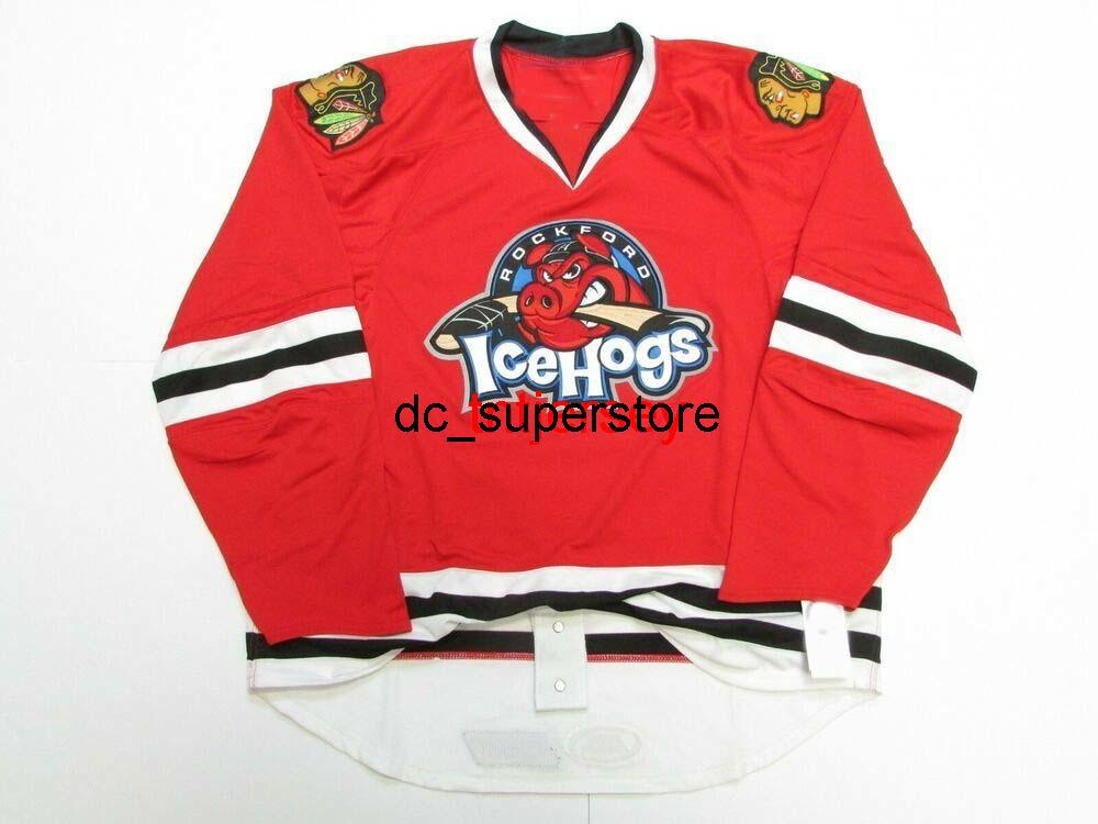 Dikişli Özel Rockford Icefogs Ahl Kırmızı Hokey Jersey Herhangi Bir Ad Sayı Ekle Erkek Çocuklar Jersey XS-5XL