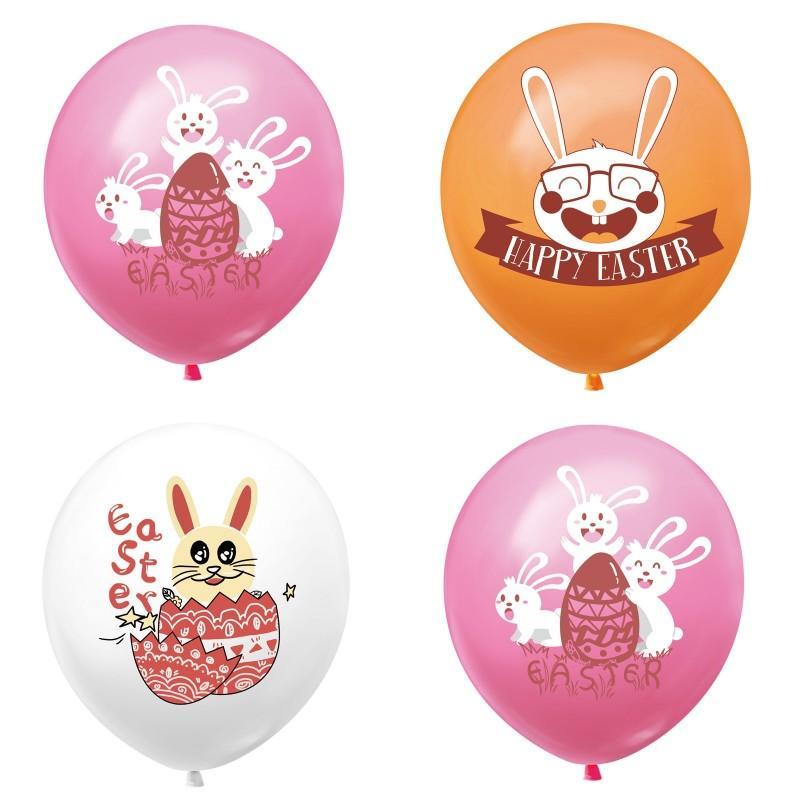 Счастливые пасхальные шары 12 дюймов резиновый пасхальный кролик печатные латексные воздушные шары пасха домашняя вечеринка декор дети воздушный шар 185 N2