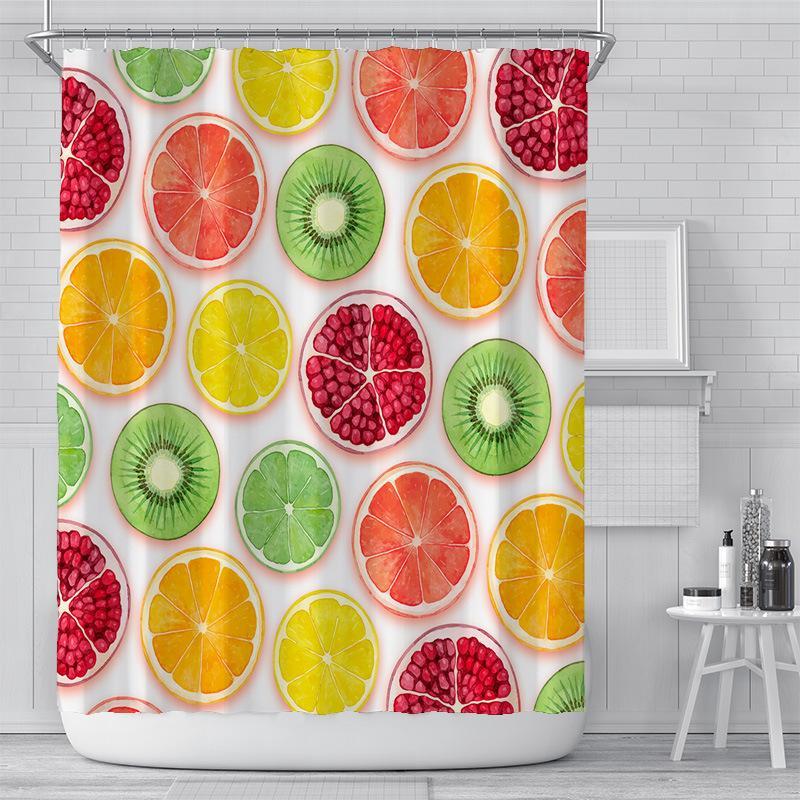 Rideau de douche de fruits d'été 180 * 180cm jaune ananas jaune orange motif de melon d'eau en polyester tissu étanche salle de bain rideaux GWA3954