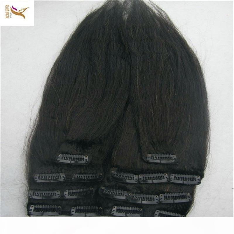 Color negro peruano recto CHINK INS HUMANOS PELO EXTENSIONES 7PCS Set Remy Human Hair 100G Set
