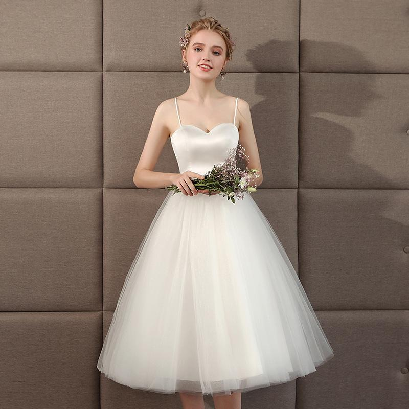 Bridesmaid Dress Wedding 2021 White Sash Short Paragraph Light Graduation Season Po