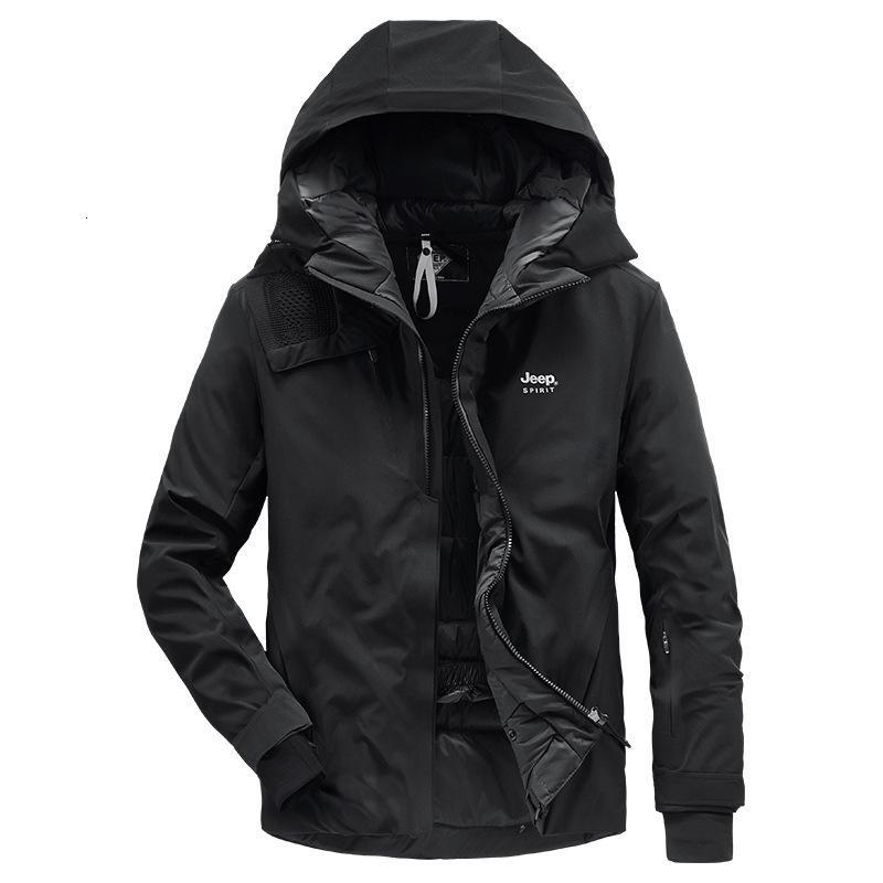 Мужская зимняя новая утолщенная теплой верхняя вершина и среднего и среднего возраста с капюшоном 90 белая куртка