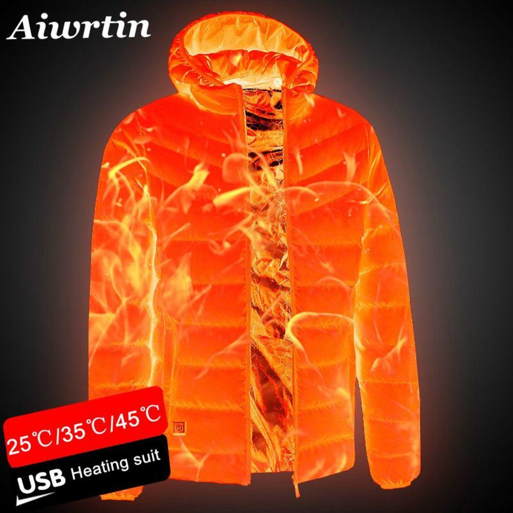 2020 nuevos hombres con calefacción al aire libre Abrigo al aire libre USB Batería eléctrica Manga larga Calefacción Chaquetas con capucha Cálido Invierno Ropa térmica