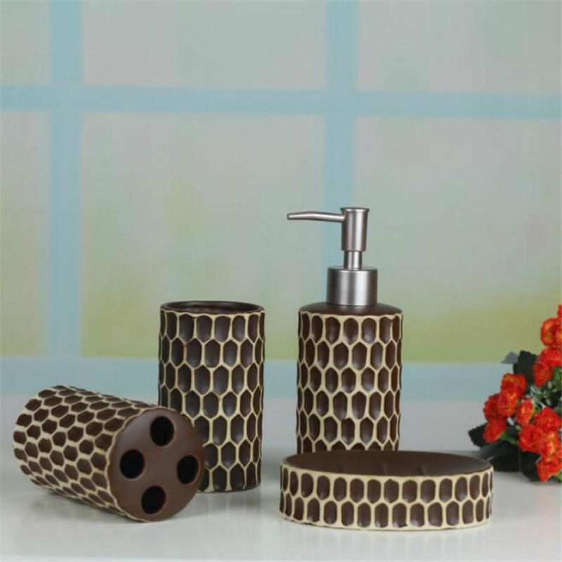 Europen Cermic Bthroom Набор Ccessosores BTH Kit 4PCS / Установлен Простой Белый Цвет Зубстой Держатель Зубстата Диспенсер