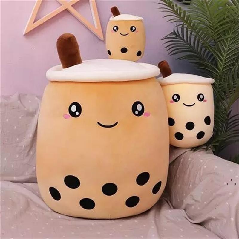 Bebida de frutas fofos pelúcia pelúcia suave rosa morango leite chá pelúcia boba xícara de chá bebê bolha chá almofada almofada crianças presentes 24cm owf5678