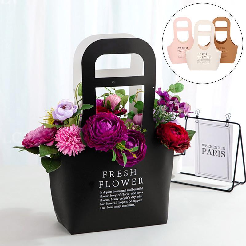 Крафт бумаги цветы коробки с ручными сумками роз флористов пакеты упаковочные подарки для домашних свадьбы украшения для украшения