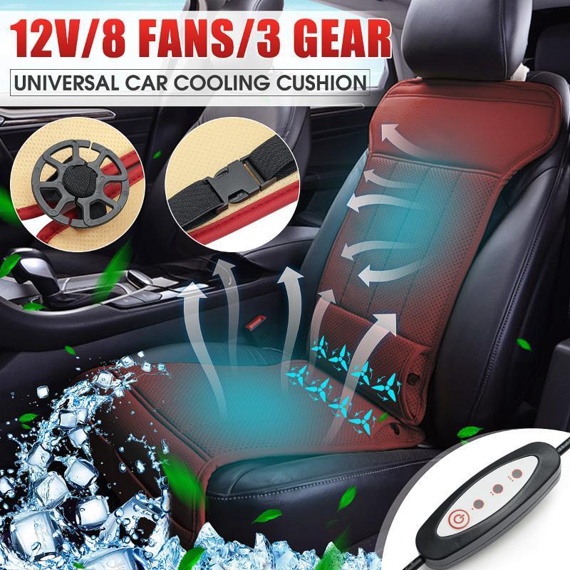 Autositzbezüge 8 eingebaute Lüfterkissenabdeckung Sommerkühlung Universal 12V für die meisten Fahrzeugsitze Luftgelüftet Klimatisierte Kühler 3 Geschwindigkeiten