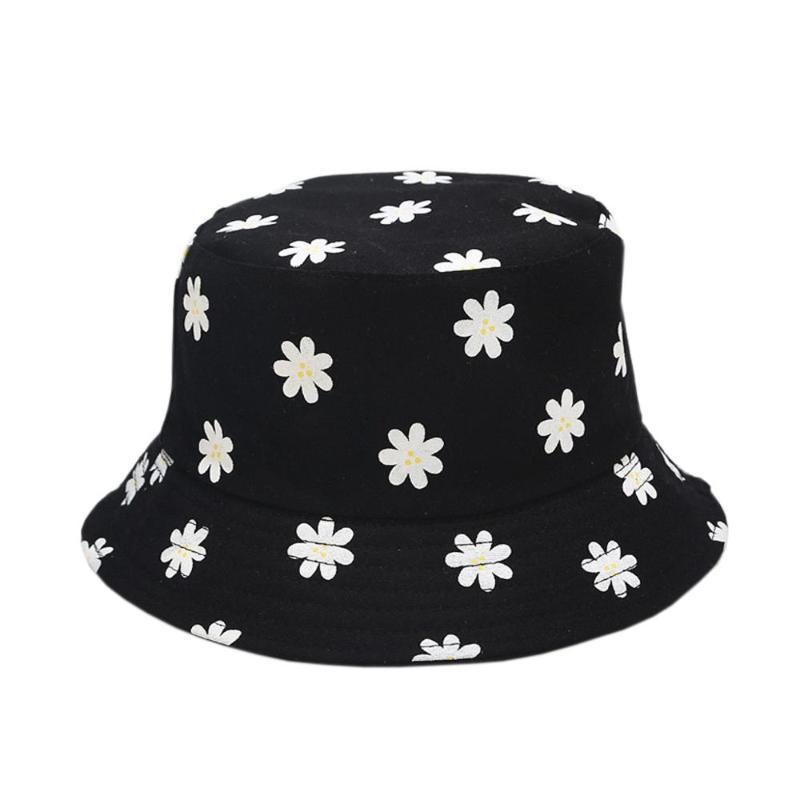 Women's Floral Printed Bucket Hats Female Double-sided Wear Packable Fisherman Sun Caps