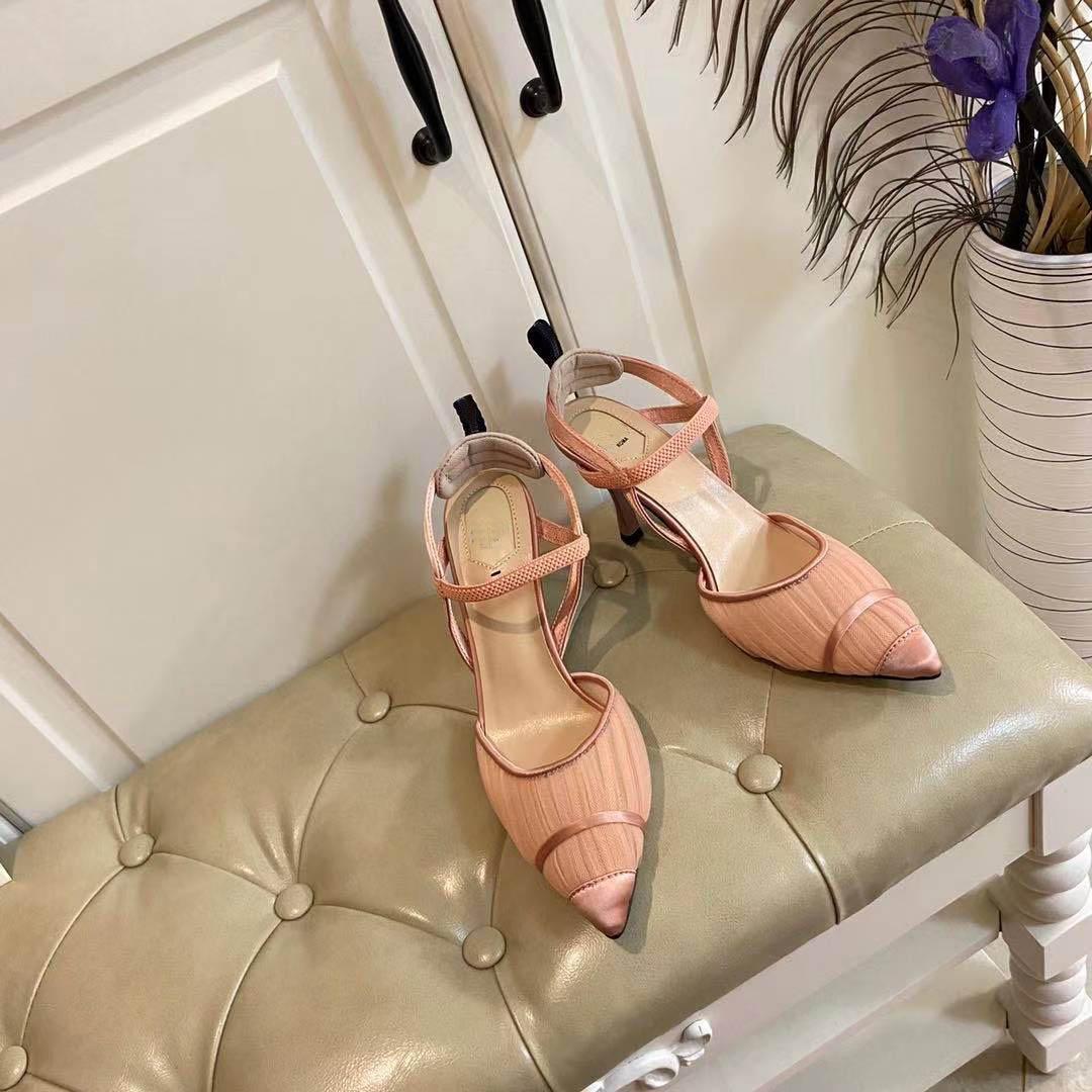 YENI Bahar 2021: Örgü Topuklu, Chic Bayanlar Rahat Sandalet, Kutu ve Toz Torbası ile Düğün Parti Topuklu, Boyutu 35-42