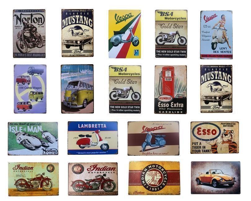 2021 Panneaux d'étain en métal vintage rétro VESPA autobus indien bus Musta Iron Poster Esso Garage Gaz Huile Bar à Plaque rustique Plaque Pub Bar Arts muraux Décor
