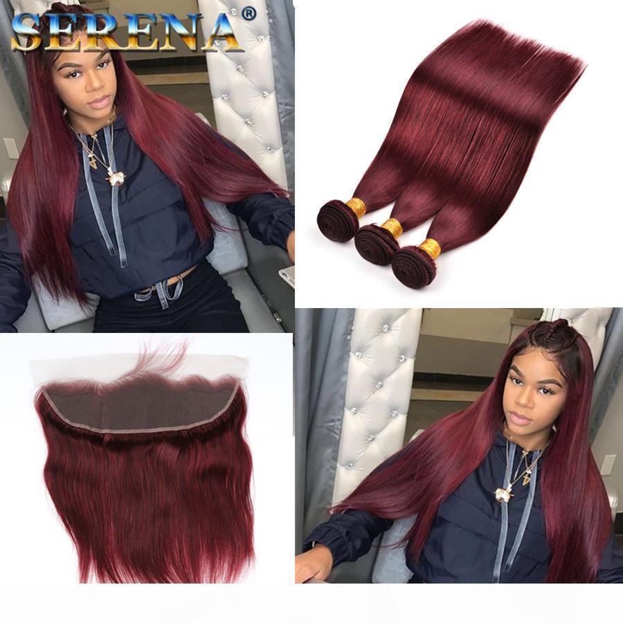 """Colorido 99J Extensões de cabelo 100% Brasileiro Weave Humano Weave 3 Pcs Weave Weave + 1 pc Frontal Frontal 13 """"x4"""" Cabeça completa 4 pcs"""