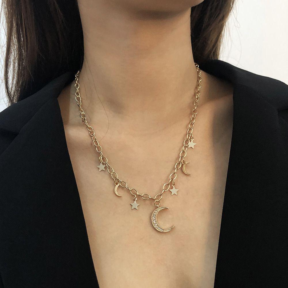 Star Moon Pendentif Collier pour Femmes Vintage Crystal Croissant Croissant Chain Card Fête Fête Bijoux Cadeau