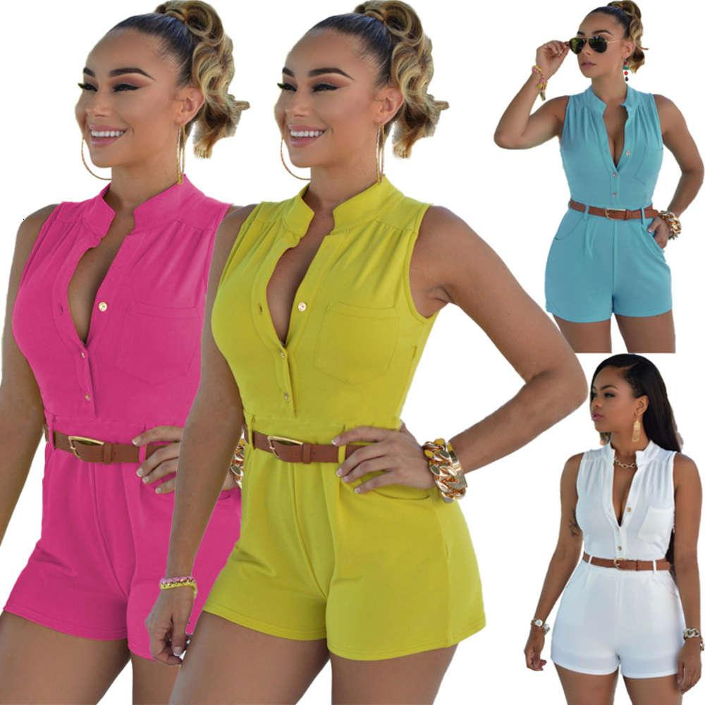2021 Sommer Mode Freizeit Hohe Taille Shorts Neue Frauen Sexy Sleeveless Overall