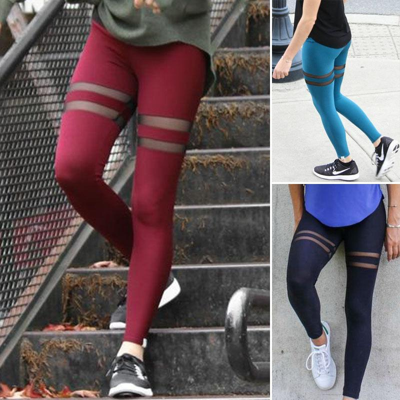 New Fashion Fitness Leggings Donna Sexy Donne Leggings Leggings Mesh Workout Skinny Rosso Blu Nero