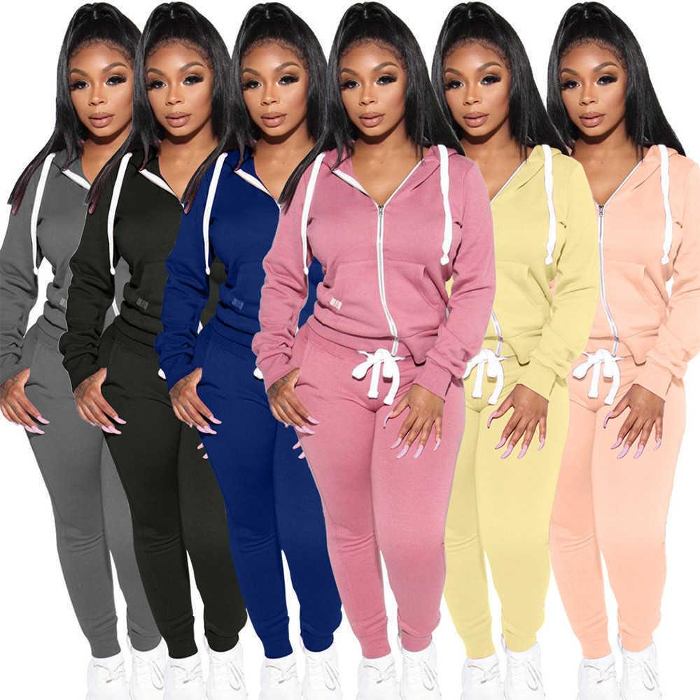 Autumn Winter Hoodie Two Piece Tracksuits Women Casual Hooded Drawstring Long Sleeve Jacket Tops and Sweatpant Outfits