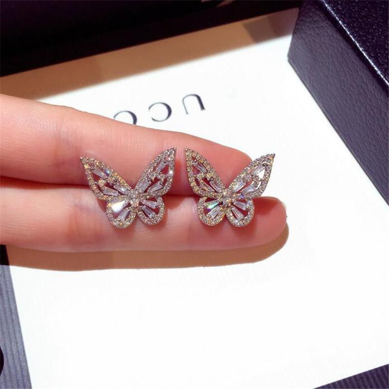 2021 New Women Fashion Jewelry 925 Sterling Silver Princess Cut Sweet Cute White Topaz CZ Diamond Ins Popular Wedding Butterfly Earring Gift