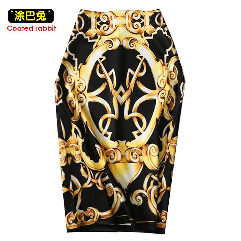 Moda occidental magnífica holiday dorado floral mujeres faldas lápiz m-xxl damas bodycon saias chicas faldas delgada