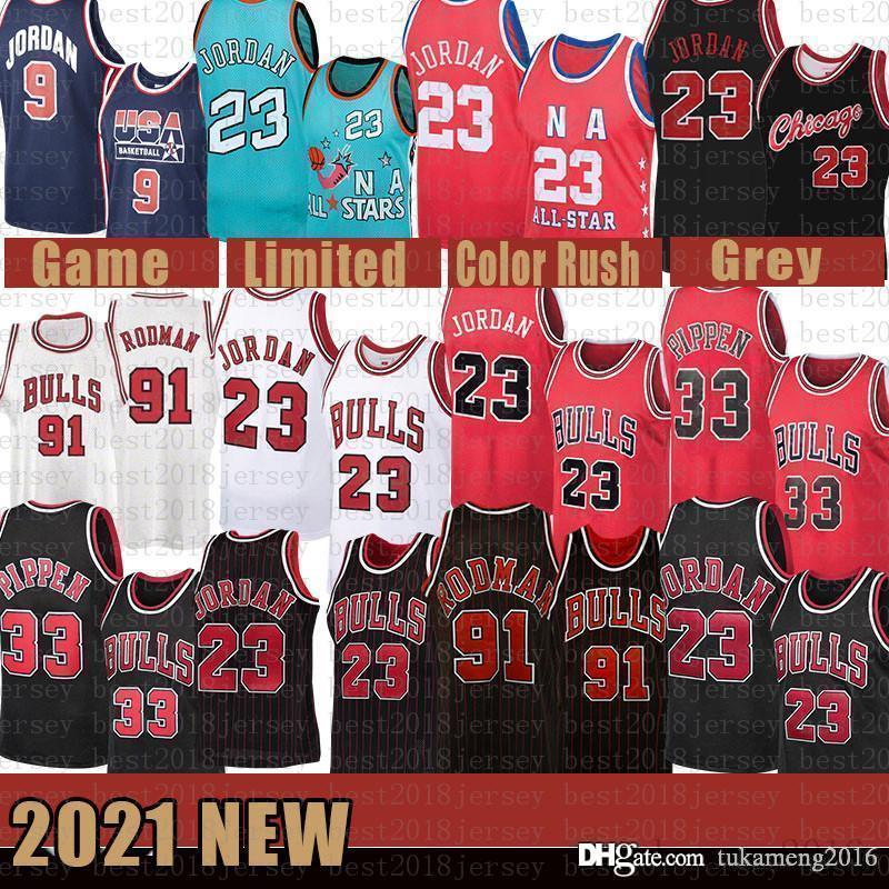 2021 novo jersey de basquete ChicagoBull Mens 23 Michael Scottie 33 Pippen Malha Retro Dennis 91 Rodman Juventude Kids Bege
