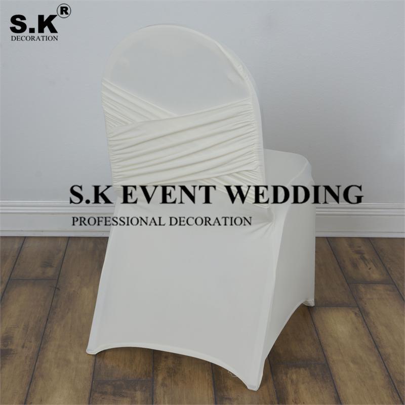 Coperture sedia bianca Premium Madrid Lycra Spandex Cover Banchetto con Swag Back per la decorazione dell'evento di nozze
