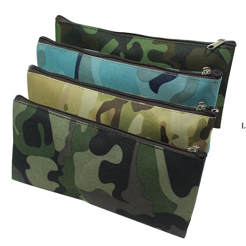 Camouflage Crayon Case Portable Toile à grande capacité Sacs cosmétiques Papeterie multifonctionnelle Sacs de rangement 19 * 9.5cm BWB9983